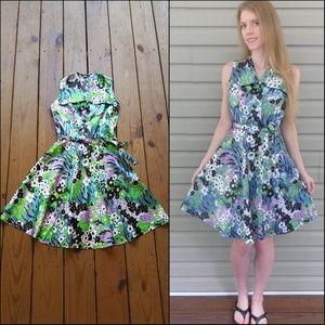 Vintage 60's XS Green Floral Mini Dress